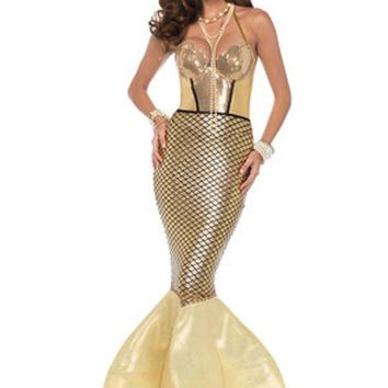 Golden Glimmer Mermaid,halter dress with foam fin tail in GOLD