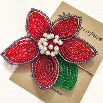 Red and green Poinsettia beaded hair pin, Christmas flower hair acessory, made from vintage brooch, holiday hair ornament
