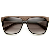 Indie Fashion Wood Print Flat Top Aviator Sunglasses 8810