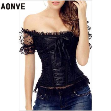 AONVE Corset Waist  Corsets and Bustiers Steampunk Lace up Top Gothic Clothing Lace Corselet Shapewear Sexy Lingerie