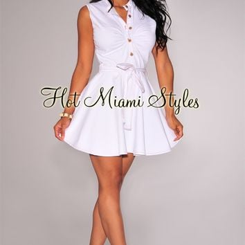 White Denim Belted Skater Dress