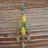 Belly Button Ring - Body Jewelry -Yellow And Green Crystals and beads with Green Gem Stone Belly Button Ring