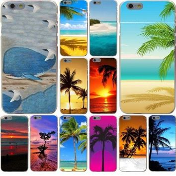 Beautiful beach with palm trees Hard Phone Cover Case for iphone 5 6 7 8 plus X