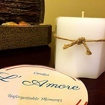 Octagonal white pillar candle. Scented or Unscented pillar candles.