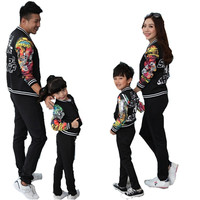 Sardiff Family Matching Clothes Mother Father Daughter Sun Black Sports Casual Clothing Set Printing Flower For Family Outfit