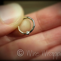 DIAMOND Septum Nose Ring Hoop 18 gauge - 14k SOLID Gold - Organic Shape 14k Yellow Gold Earring Helix Tragus Septum Cartilage 18 ga Sparkle