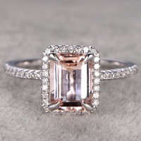 6x8mm Morganite Engagement ring White gold,Diamond wedding band,14k,Emerald Cut,Gemstone Promise Bridal Ring,Claw Prongs,Custom made setting