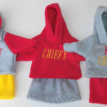 bitty baby clothes, girl doll or 15 inch twin, special order- 3 Kansas City Fan Football, Hoodies, Skirts, handmade by adorabledolldesigns