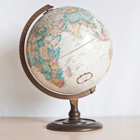 Vintage Replogle World Classic Series Globe, Soviet Era Transitional Period, Raised Relief Tan World Globe, 12 inch Diameter, Made in USA