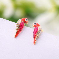 Lovely Parrot Rhinestone Earrings-n RET001