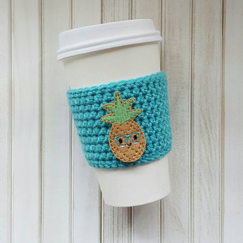 Coffee Cozy - Kawaii Pineapple - Crochet Coffee Cozy - Coffee Cup Sleeve - Coffee Gift - Coffee Gift Ideas - Coffee Sleeve - Mason Jar Cozy