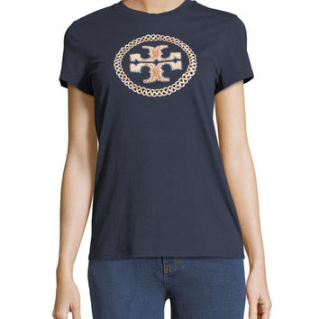 Tory Burch Maya Embellished-Logo T-Shirt