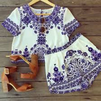 Blue & White 2-pc Crop & Shorts Set