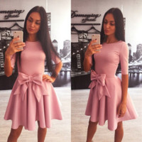 Fashion bowknot between the waist pleated bandage dress