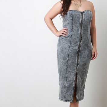 Acid Wash Denim Zipper Strapless Tube Midi Dress