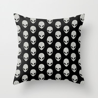 Glitter Grey Aliens Throw Pillow by Octavia Soldani