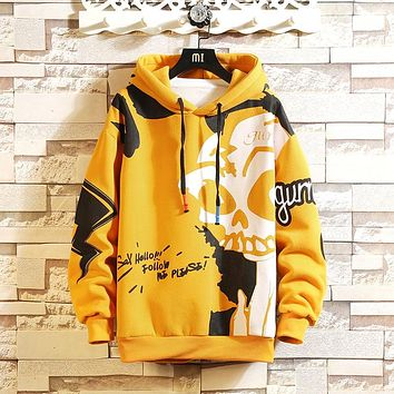 Skull Hoodie Thick Fleece Style Casual O-Neck Long-Sleeved