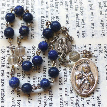 Saint Anne Chaplet - St. Ann, Blue, Lapis Lazuli and Fluorite Gemstone Beads, Dark Blue