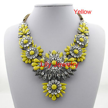 Shourouk Inspired Necklace Yellow flower Statement Jewelry Bubble Necklace, Crystal Rainbow Neon Necklace, Bib Colorful Drop Stone Necklace