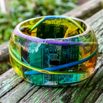 Computer Parts Intel AMD NVIDIA Bangle Bracelet Resin. Colorful Resin. PC Recycle. SteamPunk Jewelry. Eccentric Machine Art. Wire Plates.