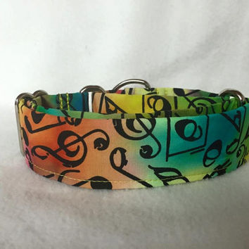"Musical Notes Bright Multi Martingale or Quick Release Collar 1"" Quick Release 1.5"" Martingale 2"" Martingale"