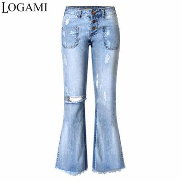 Wide Leg Jeans Women Pants Woman American Apparel Knee Out Denim Pants Pantalones Vaqueros Mujer Jean Trou Genou 2017