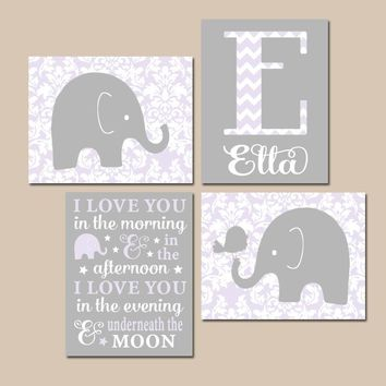 ELEPHANT Nursery Wall Art, Lilac Gray Damask Nursery, I Love You in the Morning, Baby Girl Decor, Canvas or Prints, Elephant Bird, Set of 4