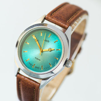Modern men's watch, turquoise face men watch Ray, minimalist men wristwatch, urban fashion 90s for him watch, premium leather strap new