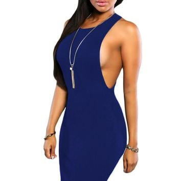 Chicloth Navy Blue Daring Sleeveless Knit Dress