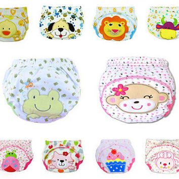10 pcs/lot Baby Diapers Children Underwear Reusable Diaper Cover Animals Style Washable