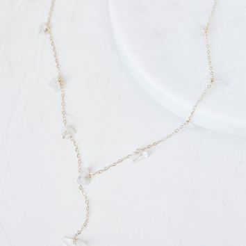 Free People Raw Moonstone Slice Drop Choker
