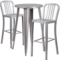 24'' Round Silver Metal Indoor-Outdoor Bar Table Set with 2 Vertical Slat Back Barstools