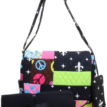 Quilted Funky Boho Peace Sign Flowers Dots Baby Diaper Bag w/ Changing Pad