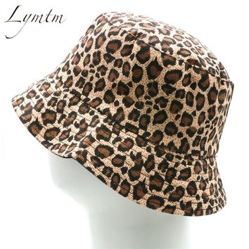 [Lymtm] Women Leopard Print Bucket Comfortable Breathe Foldable Men Beach Flat Top Sun Fishing Hat high quality
