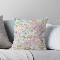 'Wonky Rainbow Glitter Mermaid Scales Pattern ' Throw Pillow by UtArt