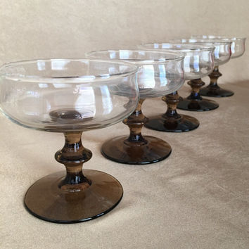 Champagne Coupes, Libbey Bamboo, Mid Century Barware, Smoke Brown Stems, Asian Inspired Bar, Knob Stem, Casual Champagne, 70's Modern Bar