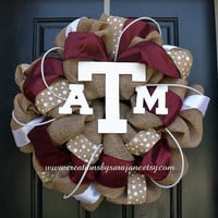 Texas A&M Burlap Wreath  Burlap Aggie by CreationsbySaraJane