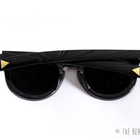 Retro Wayfarer Sunglasses in Black or Tortoise Shell with Custom Added Gold Triangles