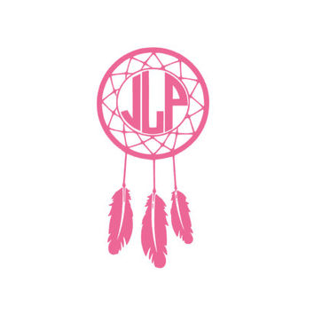 Custom/Personalized Vinyl Circle Monogram Dreamcatcher Car Decal Mock Up-Dream Catcher-Indian-Cute-Southern-Vinyl Decal-Feather