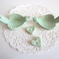 Love birds Wedding Cake Topper in mint green - We Do Hearts - Ring holder- Ring dish Handmade ceramic art