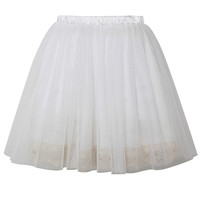 Fairy Tulle Skirt with Lace Trimming in White White S/M