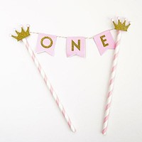 Pink Gold One Year Old Happy First Birthday Cake Topper Flag Banner Gold Glitter Princess Crowns