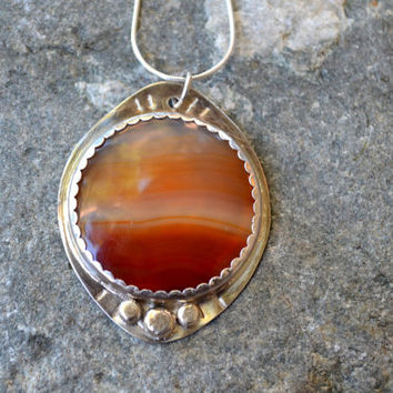 Brazilian Agate Pendant, Sterling Silver Chain, Autumn Jewelry, Sunset, Dusk, Boho Jewelry, Bohemian, Statement Pendant, Oxidized Sterling