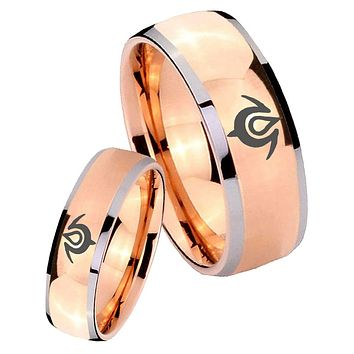 His Hers Rose Gold Dome Naga Design Two Tone Tungsten Wedding Rings Set