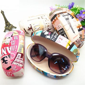 Sunglasses Case  Brand Women Hard Case Letter Print Leather Hard Case