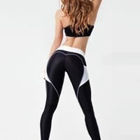 Black Heart Print High Waist Sports Tights Workout Running Legging with Side Pocket