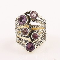 Amethyst Bubbles Sterling Silver Ring