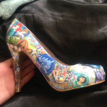 Handmade decoupage disney shoes