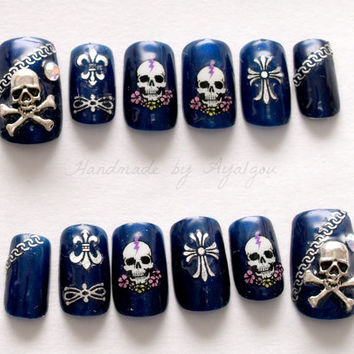 Gothic, punk, skull, dark, navy, alternatice, Japanese nail art
