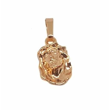 1-2146-1877-f9 18kt Brazilian Rose Gold Layered Jesus Face Necklace. 1 inch pendant, 18 inch chain.